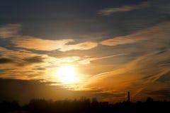 Фото красивого ландшафта захода солнца Стоковое Изображение