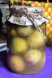 Фото крупного плана, украшенный опарник, законсервированные плодоовощи абрикоса, в кухне eco Стоковые Изображения