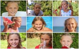 Фото лета коллажа детей Стоковые Изображения