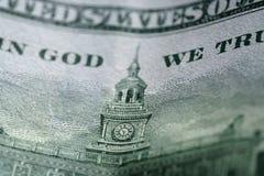 Фото макроса 100 долларовых банкнот Стоковая Фотография RF