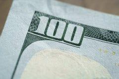 Фото макроса 100 долларовых банкнот Стоковое Изображение