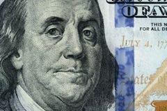 Фото макроса 100 долларовых банкнот Стоковое фото RF