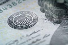 Фото макроса 100 долларовых банкнот Стоковые Фото