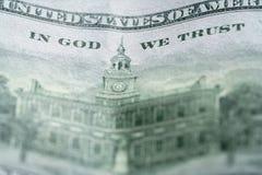 Фото макроса 100 долларовых банкнот Стоковое Изображение RF