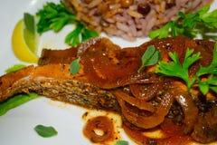 Фото макроса рыб и риса Стоковые Изображения RF