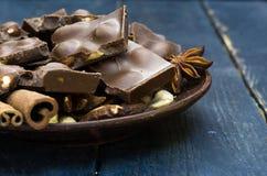 Фото макроса шоколада Пористый шоколад Стоковое фото RF