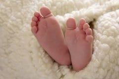 Фото милых маленьких ног newborn младенца обернутого в овчине стоковое изображение rf