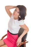 Молодая дама изолированная на белой предпосылке Стоковые Фото