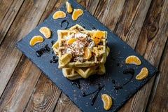 Фото нескольких бельгийских waffles Стоковое Изображение
