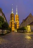 Фото ночи собора ` s St. John, Wroclaw, Польши Стоковое Фото