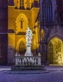Фото ночи статуи матери Holu в переднем cathedr ` s St. John Стоковое Изображение