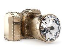 фото объектива диаманта камеры золотистое изолированное Стоковые Фото