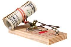 Фото ловушки мыши с деньгами как приманка, концепция Стоковые Фото