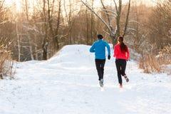 Фото от задней части бежать 2 спортсмена в парке зимы стоковое изображение