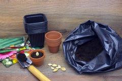 Фото пакета почвы, цветочных горшков лопаткоулавливателя, керамических и черных пластичных для rea семян заводов, тыквы, сквоша и Стоковая Фотография RF