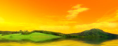 фото панорамы лужка Стоковое фото RF