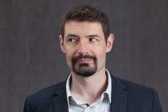 Фото пасспорта человека пятого десятка при борода goatee смотря налево Стоковая Фотография RF