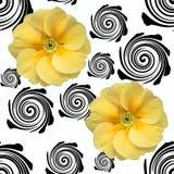 Фото первоцвета черно-белой абстрактной безшовной предпосылки желтое стоковое изображение