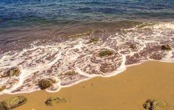 Фото перспективы моря и пляжа для предпосылки песок острова пляжа тропический Стоковые Изображения