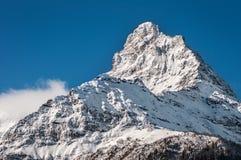 фото пика горы рассвета принятое снежное светлого пурпуровое Стоковые Изображения RF