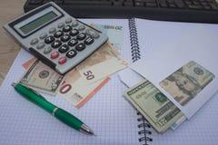 Фото показывает крупный план калькулятора и денег дела на бумаге Стоковое Изображение