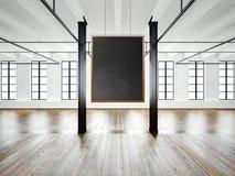 Фото пустого интерьера музея в современном здании Просторная квартира открытого пространства Опорожните черную смертную казнь чер бесплатная иллюстрация