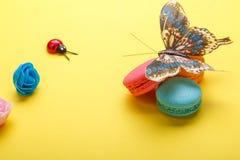 Фото различных macarons и бабочки, роз, ladybug снятый сверху, на желтой предпосылке Стоковое Изображение