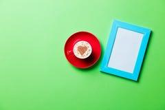фото рамки чашки Стоковое Изображение