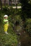 Фото рыбной ловли мальчика Стоковые Изображения