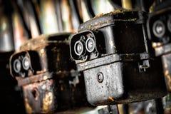 Фото старого электрического переключателя в фабрике стоковое фото rf