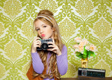 Фото стрельбы маленькой девочки вальмы ретро Стоковая Фотография RF