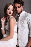 Фото студии моды красивых сексуальных пар Стоковая Фотография RF