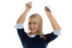 Фото счастливых женщины и листов стоковое изображение