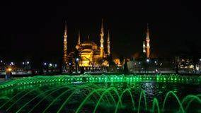 Фото улицы ночи города Стамбула мечети Ahmed султана Стоковое Фото