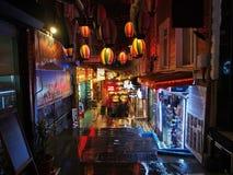 Фото улицы ночи города Стамбула Стоковая Фотография RF
