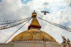 Фото Boudhanath Stupa в Kathmandu Valley, en голубя небо Непал горизонтально Стоковые Фотографии RF