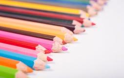 Фото crayons, карандаш крупного плана цвета Стоковое Изображение