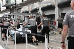 Фото F1: Изображение запаса Мерседес формулы 1 автомобильное Стоковое Изображение RF