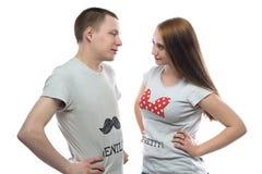 Фото flirting подростка и девушки Стоковое Изображение RF