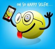 Фото Selfie счастливого характера смайлика с передвижным умным телефоном Стоковое Фото