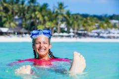 Фото snorkeling девушки Стоковые Изображения RF