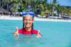 Фото snorkeling девушки Стоковые Фото