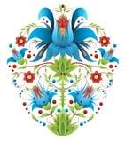 Фольклорная вышивка с цветками - традиционная этническая картина Стоковое фото RF