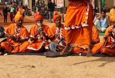 Фольклорная музыка и танец заклинателей змей Haryana, Индии Стоковые Фото