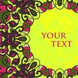 Фольклорная рамка мотива для дизайна текста Стоковое Фото