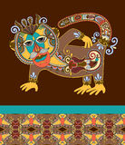 Фольклорное этническое животное - monkey с безшовной геометрией Стоковое фото RF