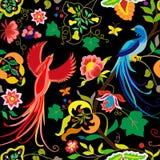 Фольклорные ветви птиц, цветков, лист и виноградины картины в винтажном стиле, на черной предпосылке иллюстрация штока
