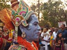 Фольклорные танцоры в Индии на фестивале Sankranti Стоковое Фото