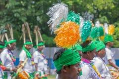 Фольклорные танцоры маршируя в прошлом Стоковые Фото