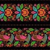 Фольклорные gorodets крася безшовными Стоковое фото RF